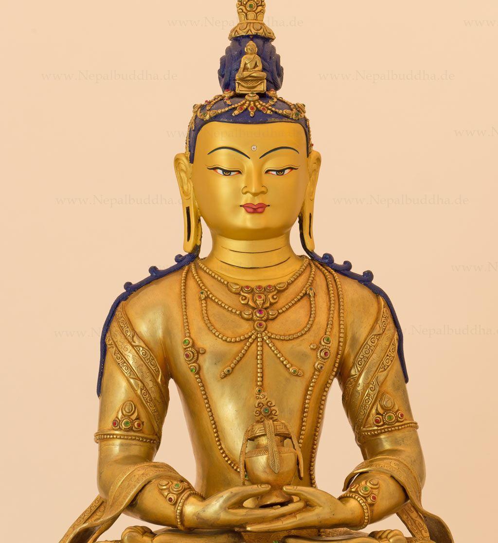 buddha amitabha gold sculpture 36lbs master piece cire perdue statue nepal ebay. Black Bedroom Furniture Sets. Home Design Ideas