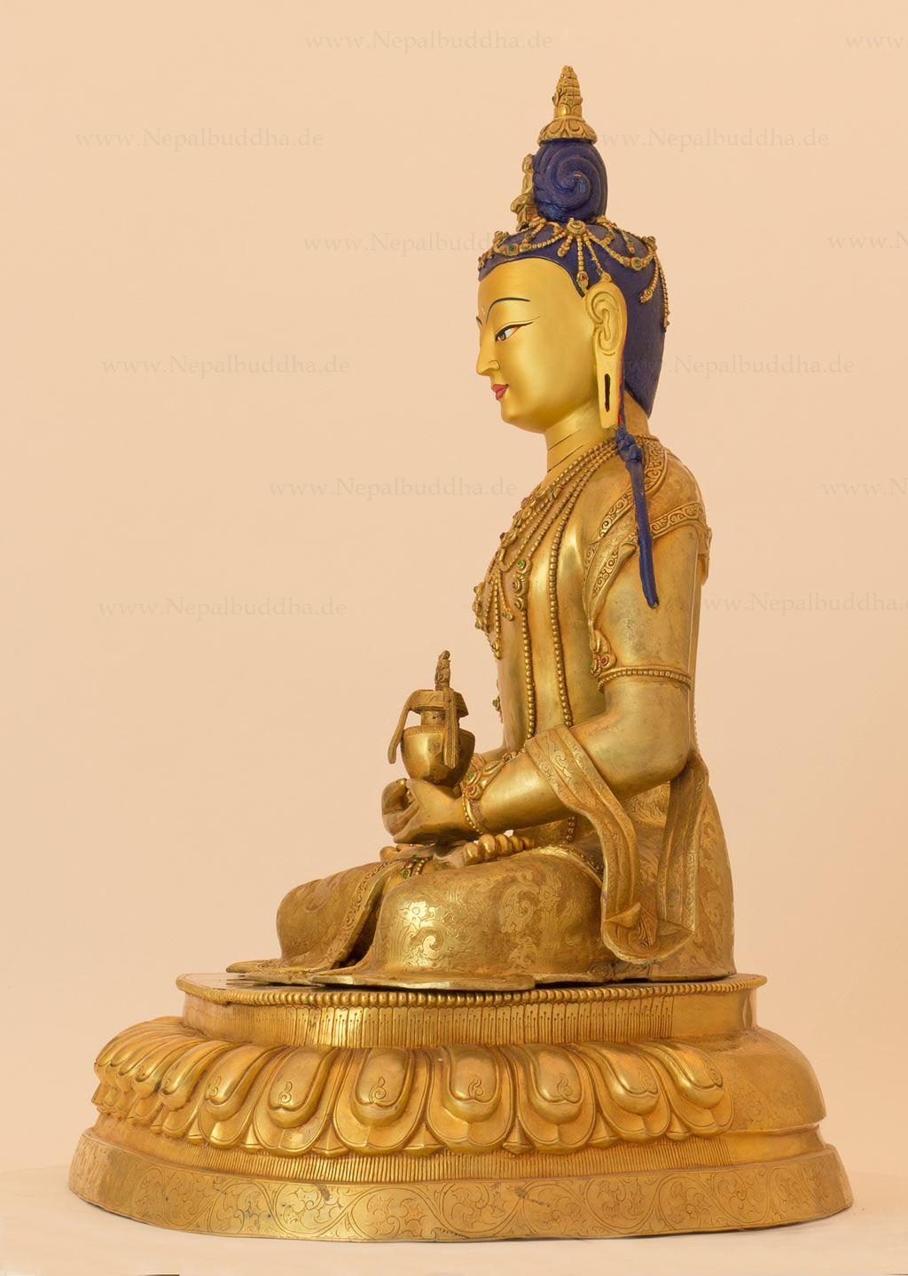 bouddha amitabha sculpture or 16 5 kg chef d 39 uvre cire perdue stature nepal ebay. Black Bedroom Furniture Sets. Home Design Ideas
