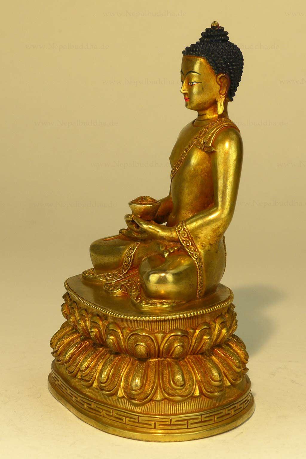 Statue Buddha Amitabha Buddhism Lotus Nepal Figur Statur