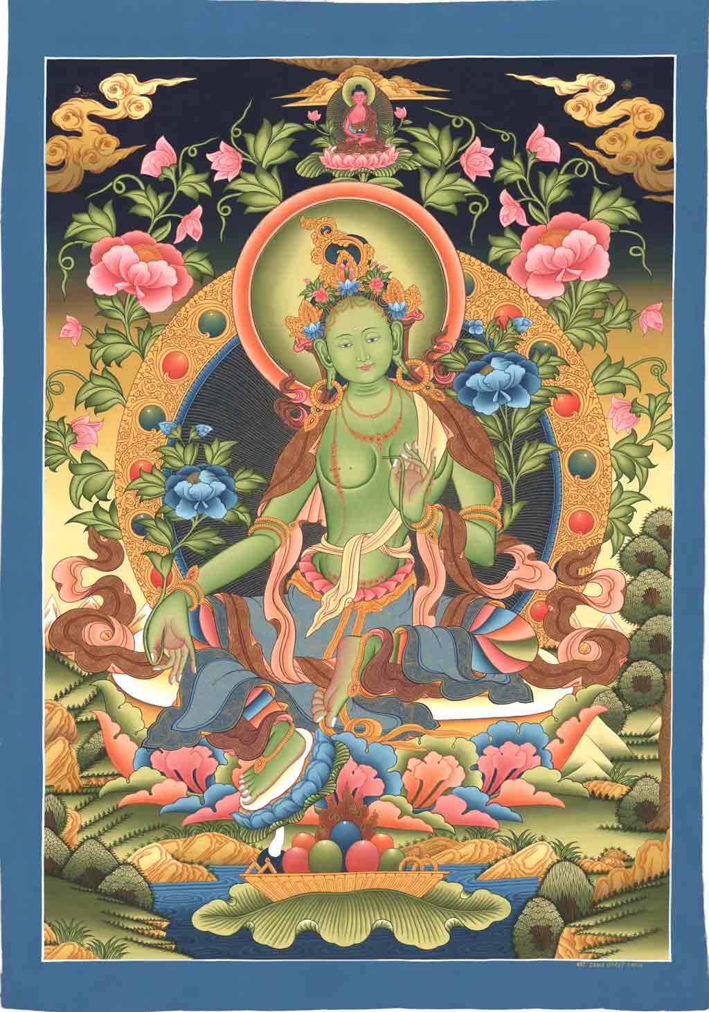 Green Tara 3: Thangka Green Tara Tebetian Divinity Drolma Buddhism