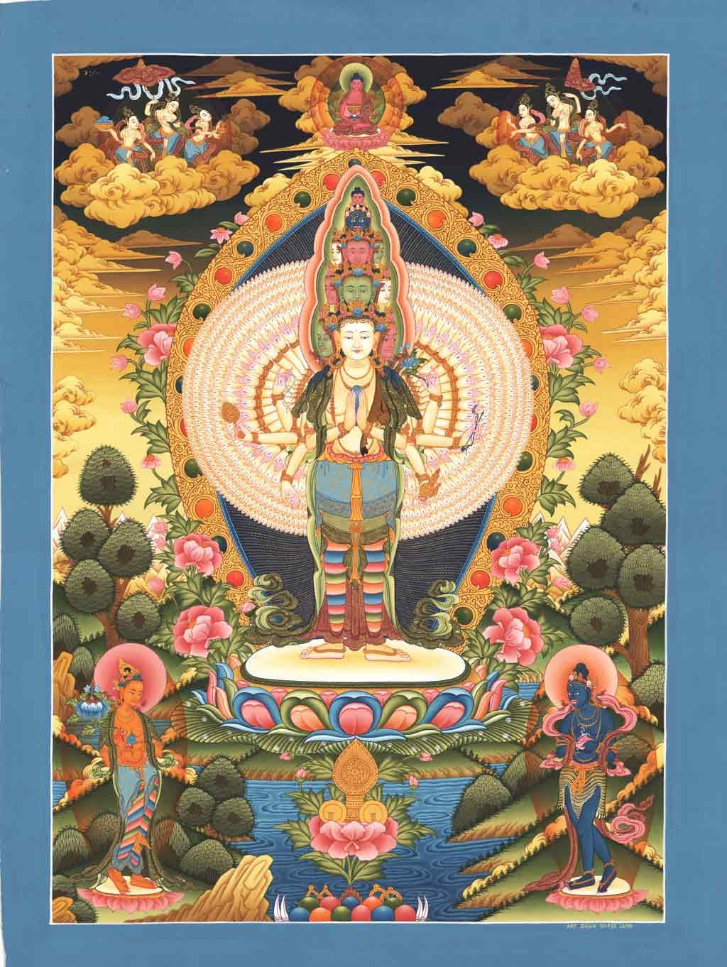 Avalokiteshvara il Dio della Nidra creativa Thangka-chenresig-01
