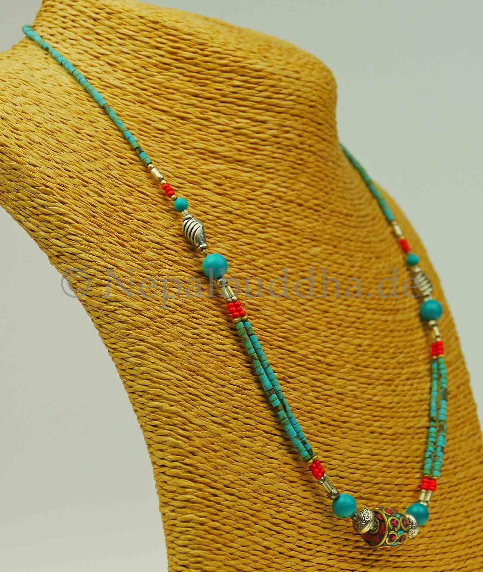 Halskette  Modeschmuck Türkis Halsschmuck Nepal Kette Nepalbuddha Indien a62//1