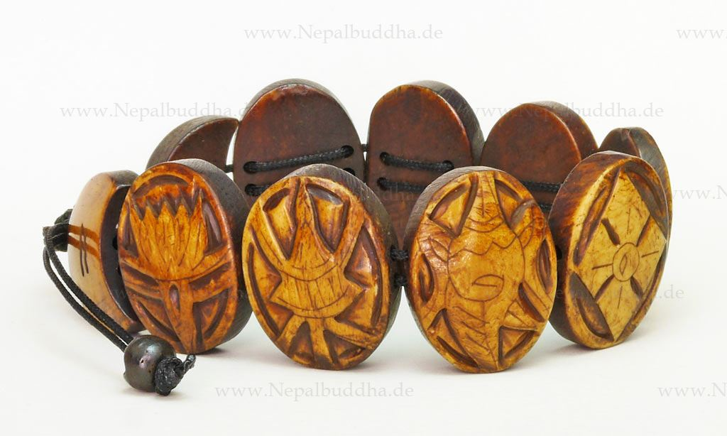 Armband braun Buddhismus Natur Damen Herren Glück Symbol Handarbeit Nepal s32