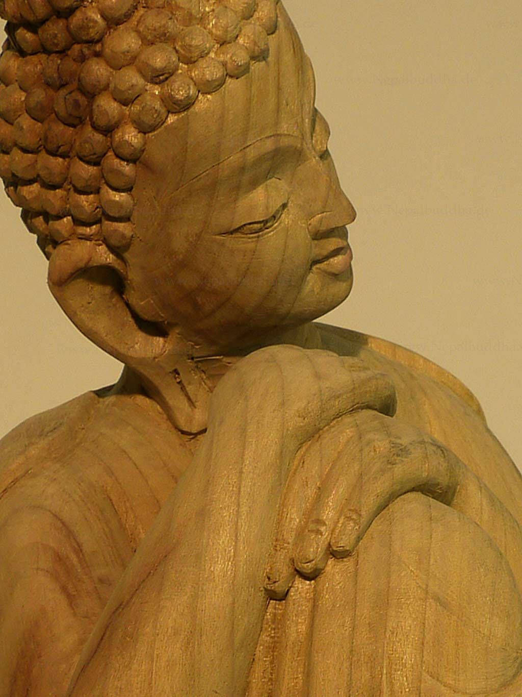 buddha statue tolle qualit t 1 65 kg buddhismus skulptur holz nepal ebay. Black Bedroom Furniture Sets. Home Design Ideas