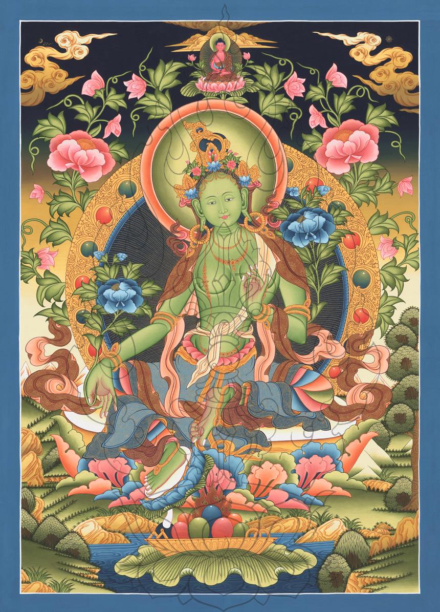 "Green Tara 3: Green Tara "" Best Print Quality "" Thangka Droelma PAINTING"