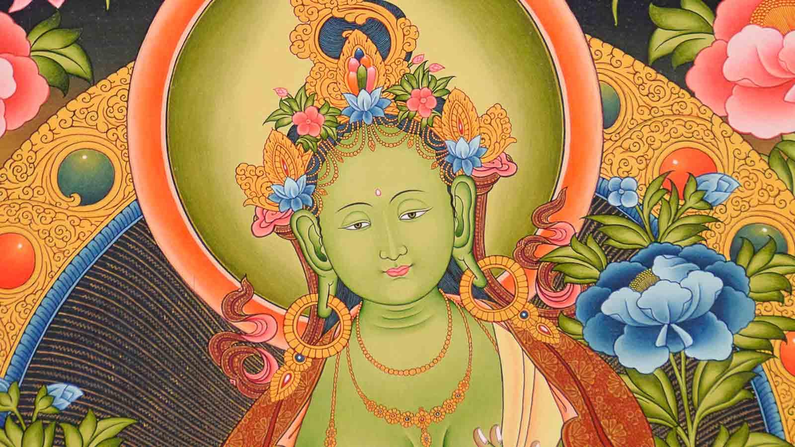 "Thangka Grüne Tara /""Beste Druckqualität/"" Drölma Malerei /""4K Video /"" Nepal T08"